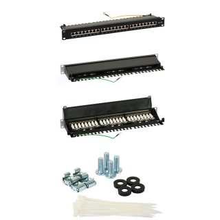 Patch Panel 0,5U FTP 24x Port RJ-45 / RJ45 RACK 19 zoll CAT6e